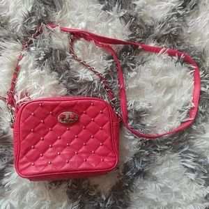 Small pink quilted crossbody